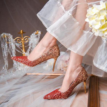 【618提前購】主婚紗婚鞋女水晶鞋新款春夏紅色高跟鞋細跟
