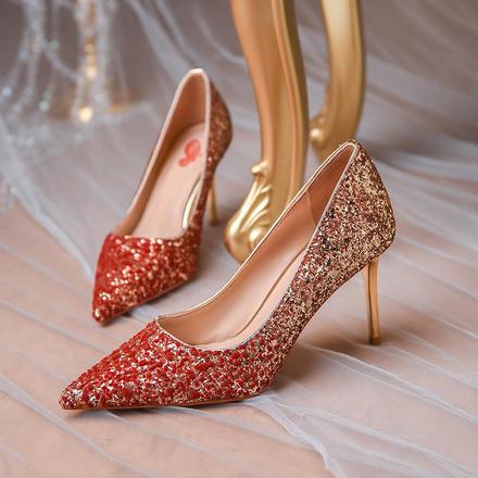 主婚纱婚鞋女水晶鞋新款冬季红色高跟鞋细跟结婚伴娘鞋日常可穿