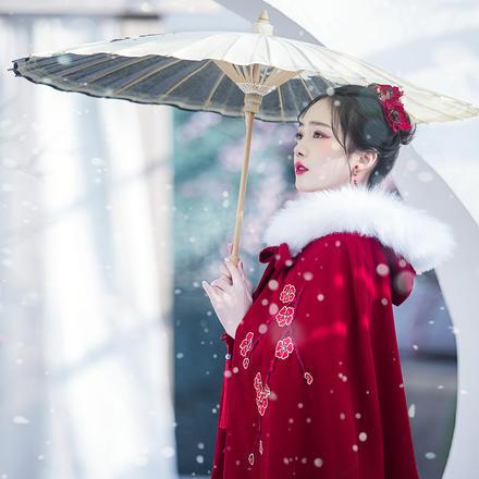 中式保暖毛领秀禾服斗篷披风