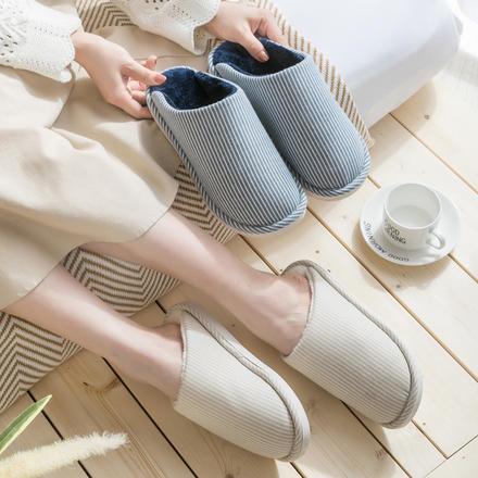 拖鞋冬季加绒加厚保暖棉拖鞋女士室内防水防滑秋季地板拖鞋男
