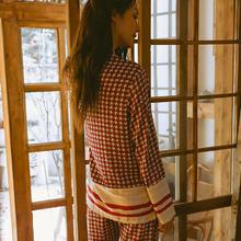 睡衣女秋冬仿真丝居家现货女士红色长袖长裤薄款日系家居服可外穿