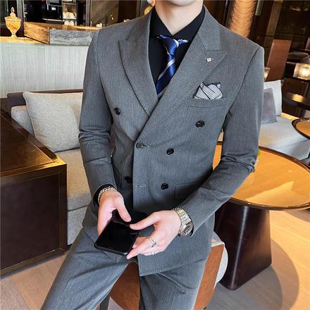 【送衬衫领带领结】新款戗驳领双排扣新郎西服西服