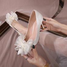 2021新款新娘主纱绸缎细跟鞋女尖头蝴蝶结婚鞋高跟伴娘鞋
