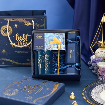 蓝色烫金星空礼盒伴郎伴手礼