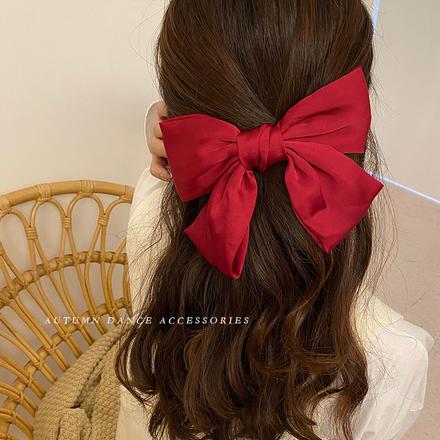 日系少女可爱红色大蝴蝶结发绳发夹发饰韩国网红气质发卡夹子头饰
