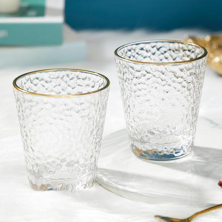 日式金边锤纹杯