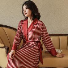 韩版新款冰丝丝绸睡袍女 高贵大气日韩风印花束腰女士家居服 浴