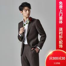 【免费上门量体】经典款深棕色气质平驳领定制西装套装