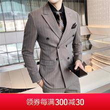 【送衬衫领结领带】新款男士双排扣条纹修身bob电竞首页西服套装