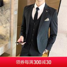 【送衬衫领带领结】深灰修身三件套西服套装