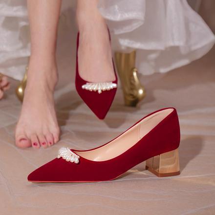 婚鞋女粗跟中式紅色秀禾服新娘鞋不累腳孕婦結婚高跟鞋中跟婚禮鞋