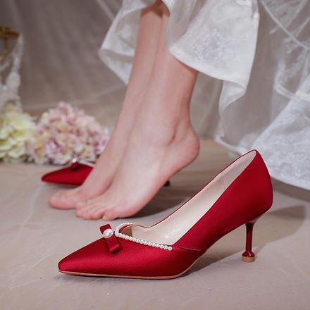 【领券立减10元】2021新蝴蝶结秀禾鞋猫跟缎面单鞋中式细跟