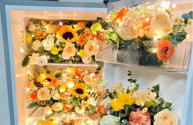 520求婚冰箱鲜花