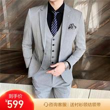 【送衬衫领结领带】2021新款单排扣平驳领修身婚礼/西服套装